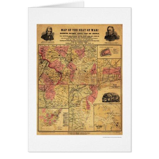 Seat Of Civil War Map 1862 Card