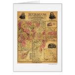 Seat Of Civil War Map 1862 Greeting Cards