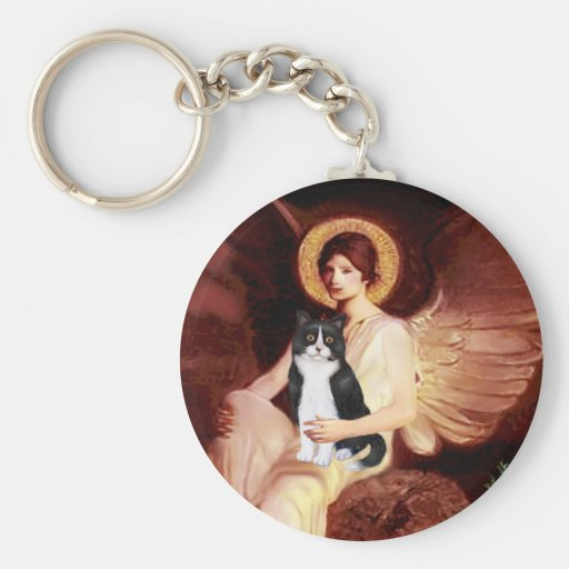 Seated Angel - Black and White Cat Basic Round Button Keychain