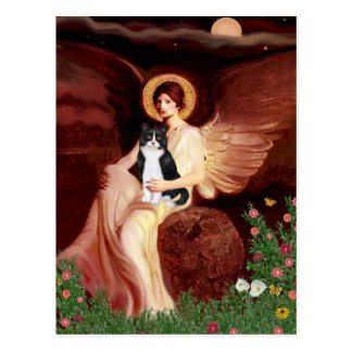 Seated Angel - Black and White Cat Postcard