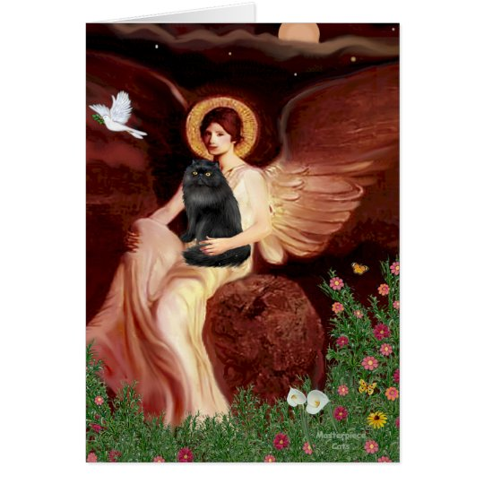 Seated Angel - Black Persian cat Card