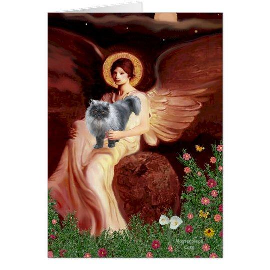 Seated Angel - Blue Smoke Persian cat Card