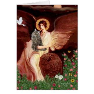 Seated Angel - Norwegian Forest Cat Card