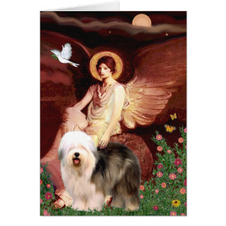 Seated Angel - Old English (standing) Greeting Card