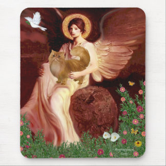 Seated Angel - Red Persian cat Mouse Pad