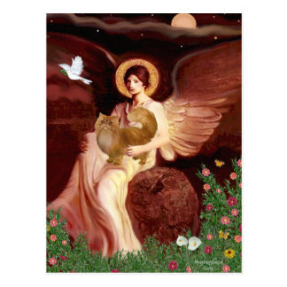 Seated Angel - Red Persian cat Postcard