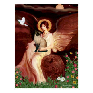 Seated Angel - Seal Point Siamese cat Postcard