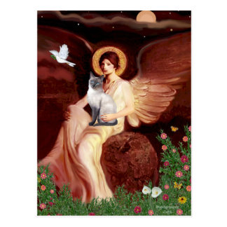 Seated Angel- Siamese (blue point 24) Postcard