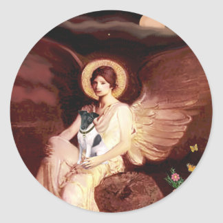 Seated Angel - Smooth Fox Terrier Classic Round Sticker