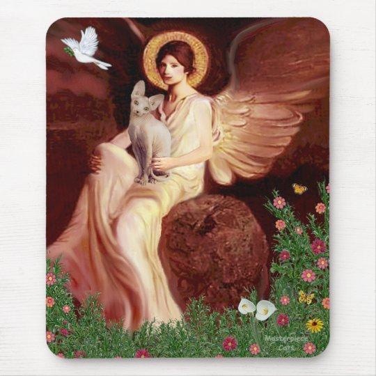 Seated Angel - Sphynx cat Mouse Pad