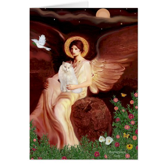 Seated Angel - White Persian cat #13 Card