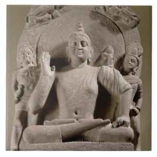 Seated Bodhisattva, Mathura (red sandstone) Ceramic Tile
