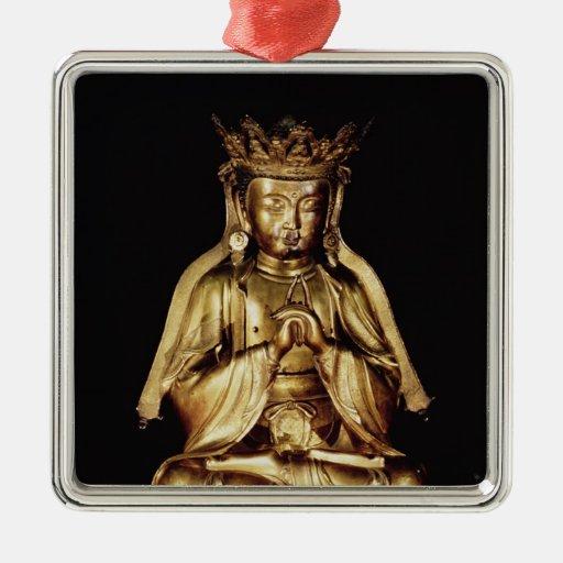 Seated Buddha Square Metal Christmas Ornament