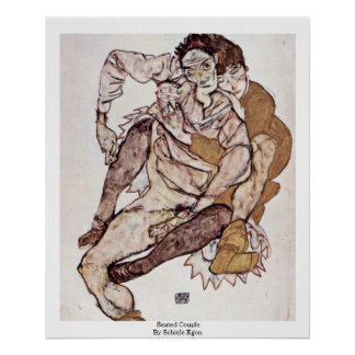Seated Couple By Schiele Egon Print