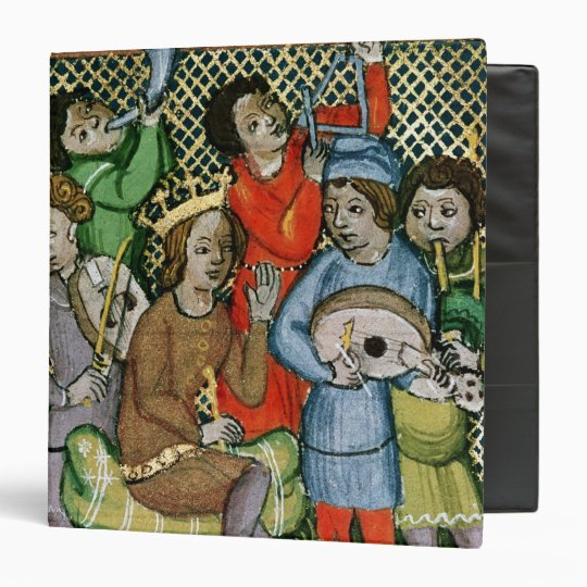 Seated crowned figure surrounded by musicians 3 ring binder