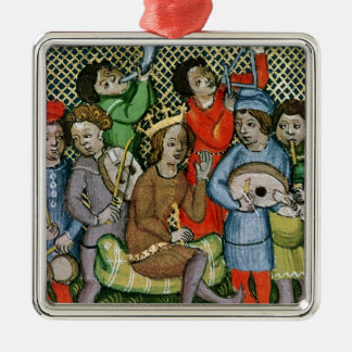 Seated crowned figure surrounded by musicians metal ornament
