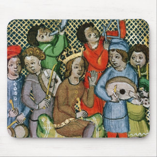 Seated crowned figure surrounded by musicians mouse pad