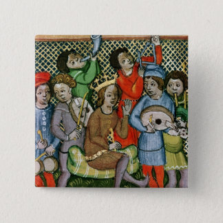 Seated crowned figure surrounded by musicians pinback button