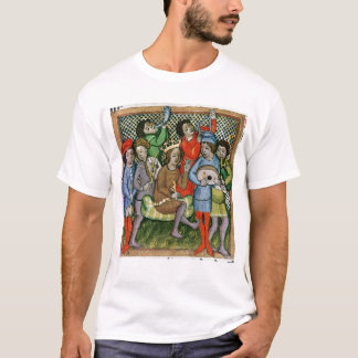 Seated crowned figure surrounded by musicians T-Shirt