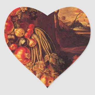 Seated Figure of Summer by Giuseppe Arcimboldo Heart Sticker