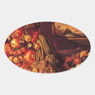 Seated Figure of Summer by Giuseppe Arcimboldo Oval Sticker