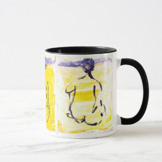 Seated Figures on Yellow Monoprint Mug