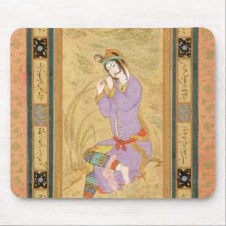 Seated girl curling her hair into ringlets, from t mouse pad