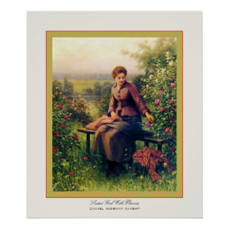 Seated Girl With Flowers ~ Daniel Ridgway Knight Poster