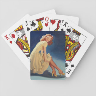 Seated in Yellow Pin Up Art Playing Cards