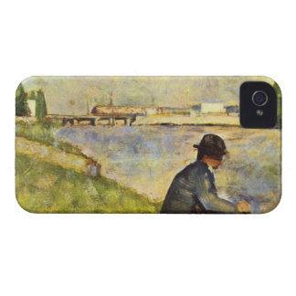 Seated man by Georges Seurat iPhone 4 Case-Mate Cases
