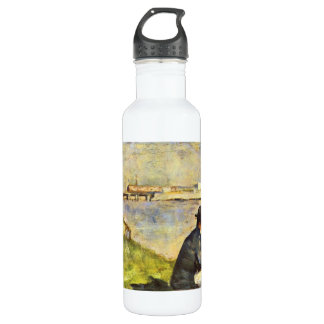 Seated man by Georges Seurat Water Bottle