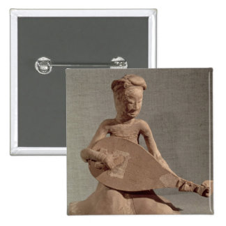 Seated musician playing a lute, from pinback button