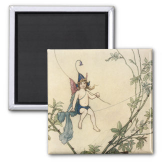 Seated on a Spider's Thread 2 Inch Square Magnet