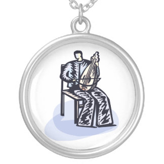 Seated Orchestral Stringed Instrument Player Graph Custom Necklace