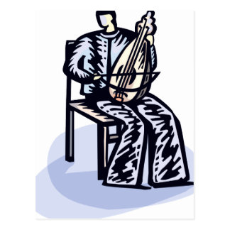 Seated Orchestral Stringed Instrument Player Graph Postcard