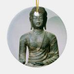 Seated Sakyamuni Buddha from Ch'ungung-ni (iron) Double-Sided Ceramic Round Christmas Ornament