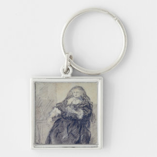 Seated Saskia with a letter in her left hand Keychain