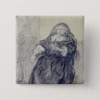 Seated Saskia with a letter in her left hand Pinback Button