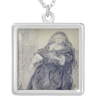 Seated Saskia with a letter in her left hand Square Pendant Necklace