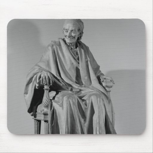 Seated sculpture of Voltaire Mousepads