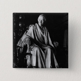 Seated sculpture of Voltaire Pinback Button