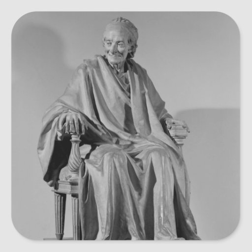 Seated sculpture of Voltaire Square Sticker