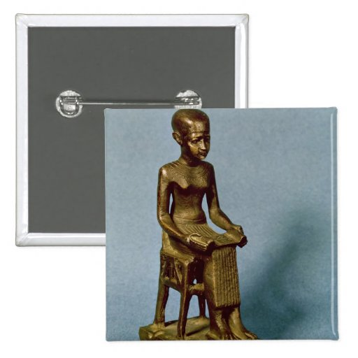 Seated statue of Imhotep  holding an open 2 Inch Square Button