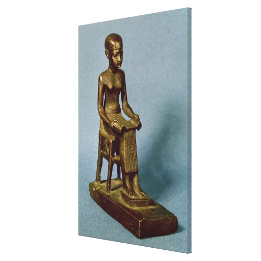Seated statue of Imhotep  holding an open Stretched Canvas Print
