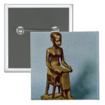 Seated statue of Imhotep  holding an open Pinback Button
