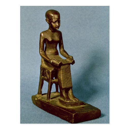 Seated statue of Imhotep  holding an open Postcard