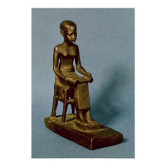 Seated statue of Imhotep  holding an open Posters