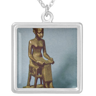 Seated statue of Imhotep  holding an open Silver Plated Necklace