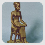 Seated statue of Imhotep  holding an open Square Sticker