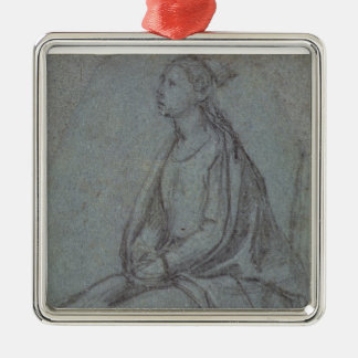 Seated Woman, c.1514 (black & white chalk on blue- Christmas Ornament